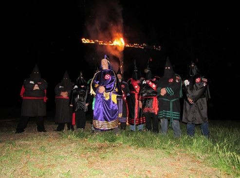 Frank Ancona (center), the Imperial Wizard of Missouri-based Traditionalist American Knights of the Ku Klux Klan. - TWITTER/@MOKLANSMAN