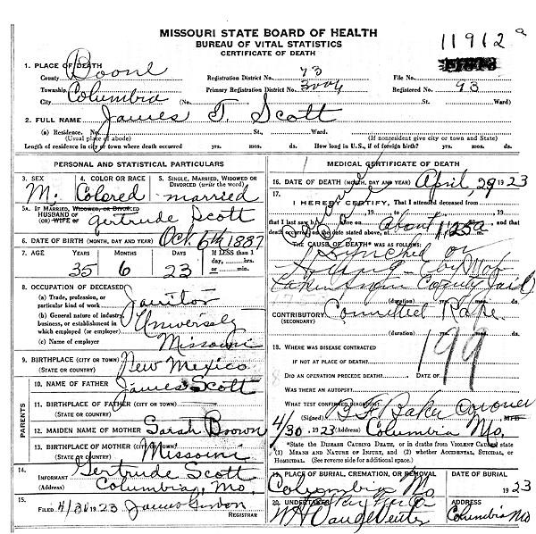Scott's death certificate. - IMAGE VIA
