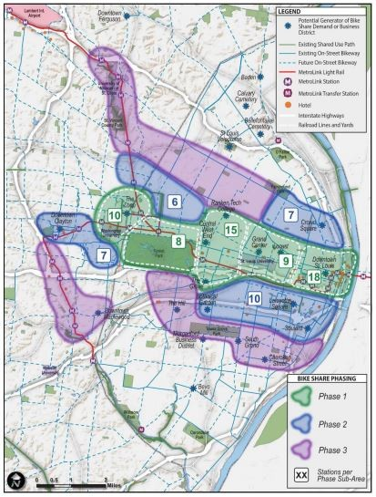 This map shows the proposed stages of building bike share in St. Louis. - COURTESY OF GREAT RIVERS GREENWAY