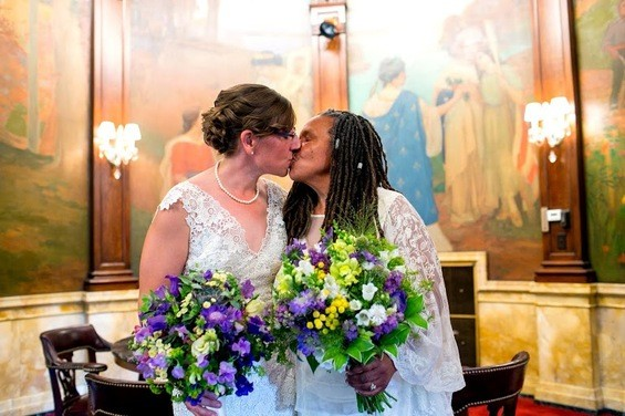 Miranda Duschack and Mimo Davis are the first lesbian couple to be married in Missouri. - COURTESY MAYOR SLAY'S OFFICE