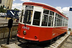 The Delmar Trolley, currently idling near the Commerce Bank. - JENNIFER SILVERBERG