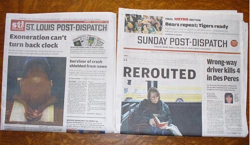 Today's paper (left) is noticeably thinner than its gordita-eating predecessor.