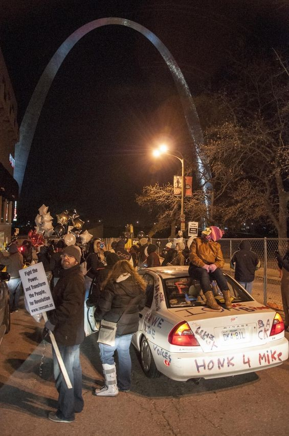 Protesters on Chestnut Street outside the Hyatt. - MICAH USHER