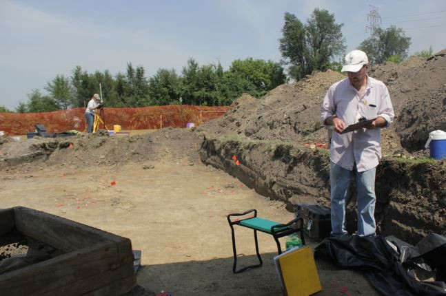 Joseph Galloy and a team of archaeologists are digging into Brooklyn, Illinois this week. - DANNY WICENTOWSKI