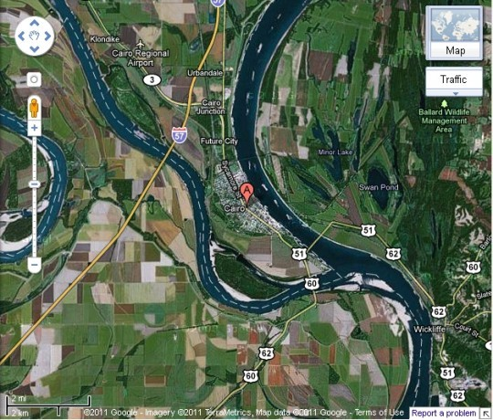 This aerial view shows how much thinner the Mississippi and Ohio rivers are under normal conditions. - COURTESY OF GOOGLE EARTH
