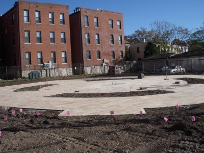 A view of the under-construction park as you stand on Taylor Avenue facing Maryland. - SARAH FENSKE