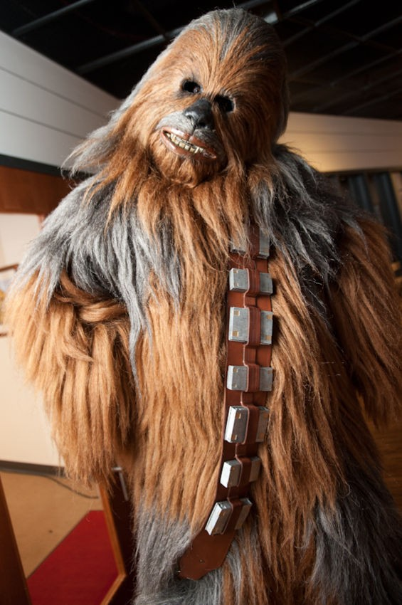 Chewbacca threw the ceremonial first pitch to Tyler Lyons before the game.