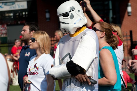 """Oh, no big deal, I'm just a storm trooper here for the game."""