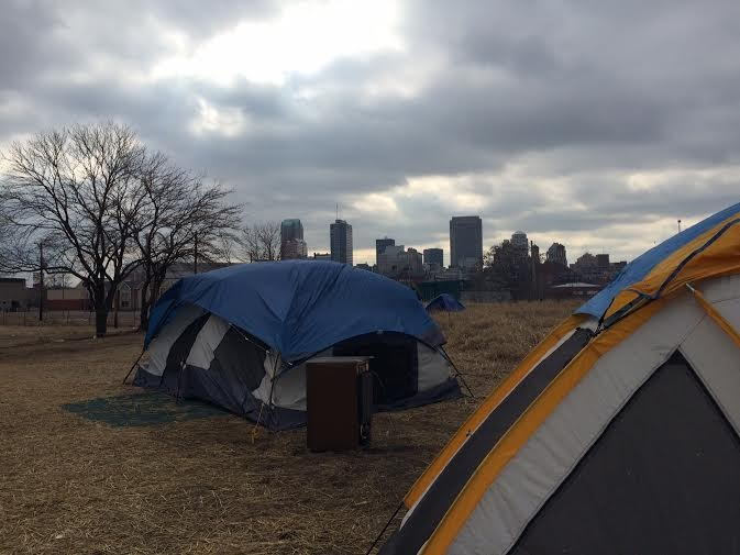 The view of downtown St. Louis from the homeless camp.