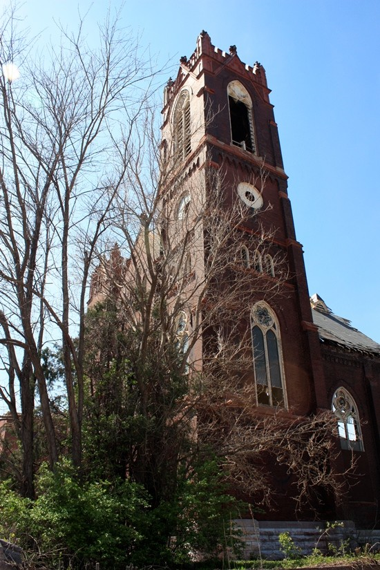 The bell tower of Bethlehem Lutheran, still standing for the time being.