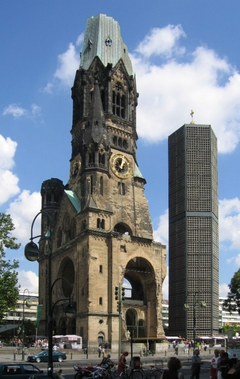 The Kaiser Wilhlem Memorial Church in Berlin, showing the incorporation of new structures into ruins. - WIKIPEDIA.ORG