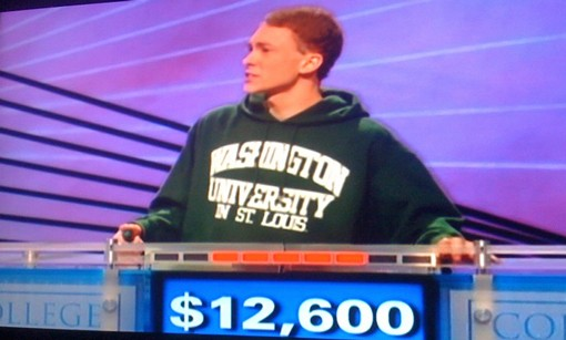 Nick Yozamp on television Friday afternoon. He won $100,000 during the college week for Jeopardy!