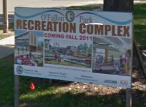 Signs in the park still promise the opening of the center in 2011.