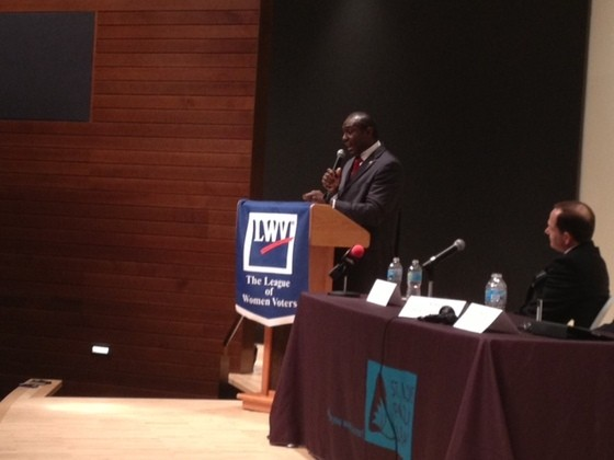 Lewis Reed speaking at a recent debate as Francis Slay watches. - SAM LEVIN