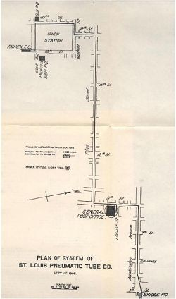 A map of the St. Louis pneumatic tube system. - IMAGE VIA