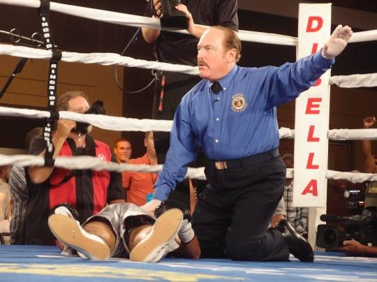 """Antonio Cervantes was out cold before he hit the canvas, inducing raucous cheers from the St. Charles crowd. """"It's a lonely feeling,"""" said referee Steve Smoger. - ALBERT SAMAHA"""