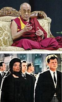 The Dalai Lama wears maroon robes. Jackie Kennedy wears a black hat and thin veil.