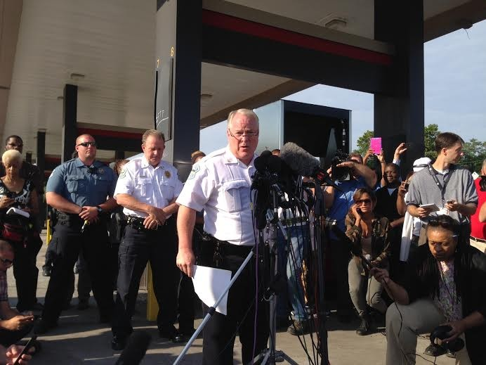 Chief Tom Jackson releases the name of Darren Wilson, the officer who fatally shot Michael Brown, to the media. - CHAD GARRISON