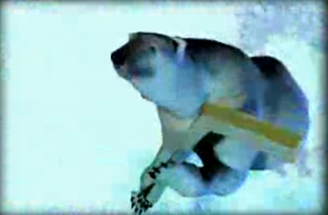 The University of Alaska-Fairbanks hockey team has a polar bear that will haunt your dreams.