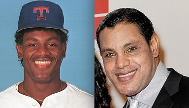 Sosa as a young shortstop for the Texas Rangers, left, and unholy creature of the night, right.