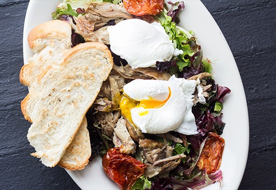 """Duck Brunch Salad"": roasted duck, roasted roma tomatoes, mixed greens, two eggs and toast. 