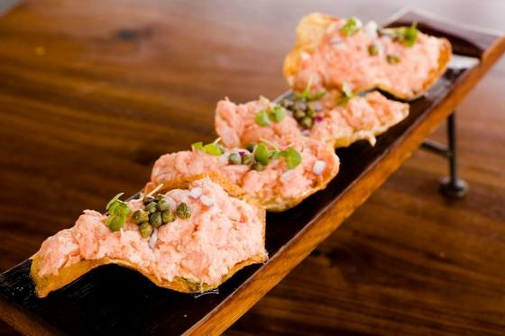 SMOKED SALMON CHIPS AT THREE SIXTY. | IMAGE COURTESY OF THREE SIXTY