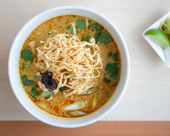 A bowl of khao soi, curry-noodle soup, at Fork & Stix - JENNIFER SILVERBERG