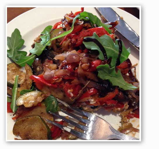 Roasted vegetable bruschetta with portabello mushroom, zucchini, red pepper, red onion, with ricotta cheese and balsamic reduction.   Nancy Stiles