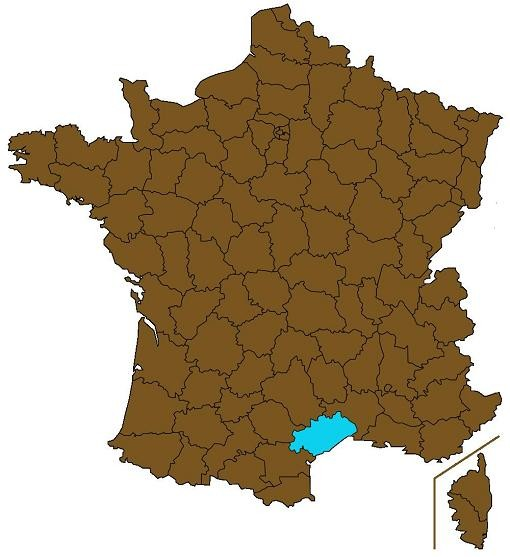 """The department of Hérault is highlighted. - USER """"MARMELAD,"""" WIKIMEDIA COMMONS"""