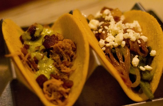 Roasted duck and nopales tacos. - MABEL SUEN