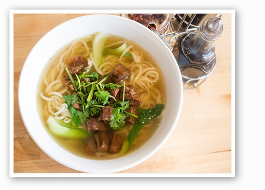 Handmade noodle soup with beef and bok choy. | Mabel Suen