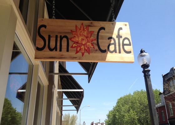 Outside Sun Cafe on Salisbury Street.   Nancy Stiles