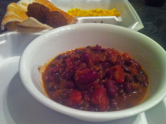 Vegan chili at the First Unitarian Church UnFish Fry - LIZ MILLER