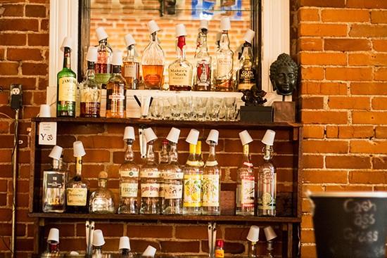 Spirits behind the bar.