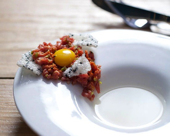 Steak tartare with daikon-radish consommé, from an earlier tasting menu at Little Country Gentleman - JENNIFER SILVERBERG