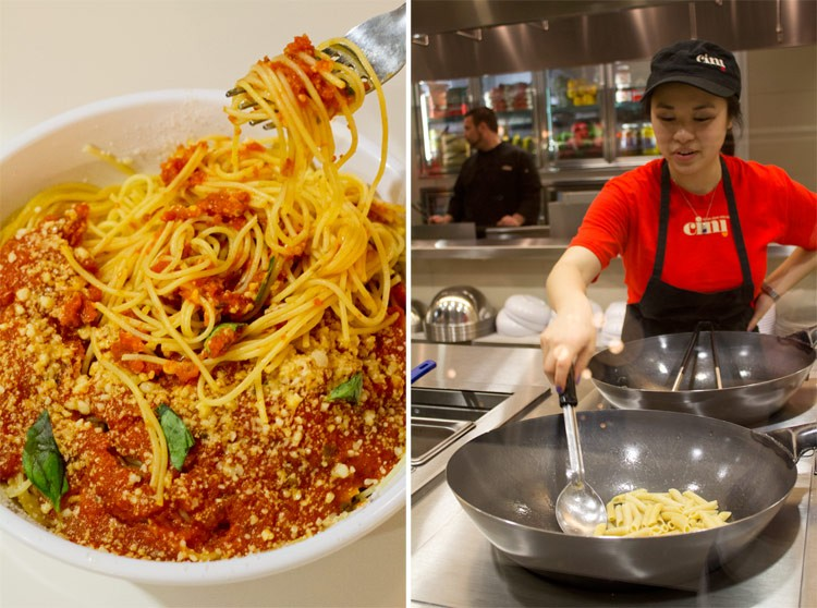 Angel hair pasta with pomodoro sauce and fresh basil. - MABEL SUEN