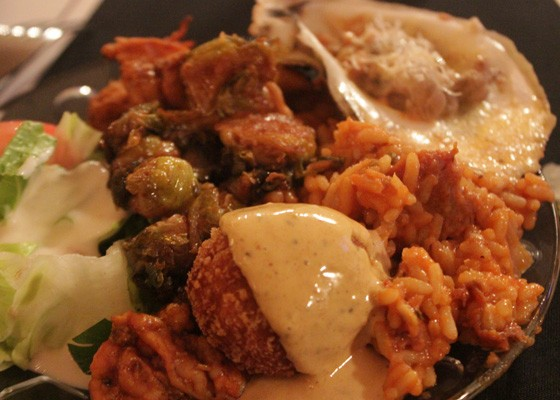 A plate of Molly's offerings including Creole arancini, jambalaya, fried Brussels sprouts and more. | Nancy Stiles