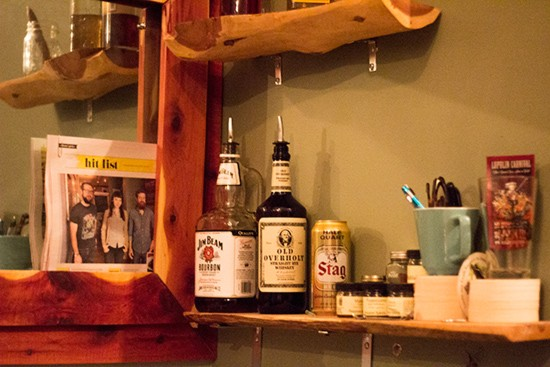 Bare essentials also available behind the bar.