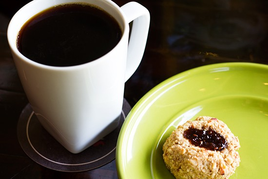 """Malawi Peaberry"" pour-over coffee with a Whisk thumbprint cookie."
