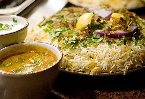The Dum Biryani. You can choose from three different kinds, the vegetable, chicken or mutton dum biryani. See photo slideshow from Mayuri. - PHOTO: JENNIFER SILVERBERG