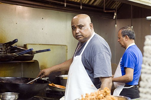 Head Chef Nagabhushanam looking very serious in the ktchen at Mayuri. See photo slideshow from Mayuri. - PHOTO: JENNIFER SILVERBERG