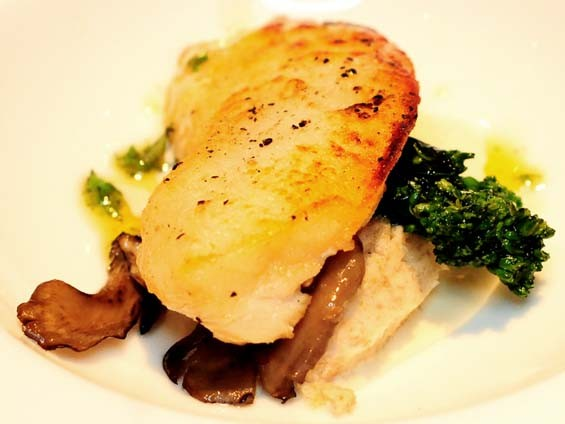 Justin Wacker (~Scape American Bistro): Pan-seared halibut with cranberry and mint purée. - PHOTO: EGAN O'KEEFE