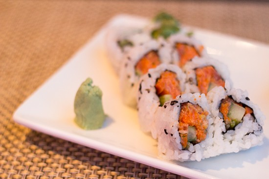 Spicy salmon roll.