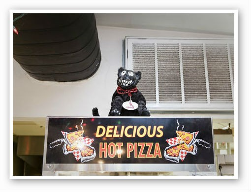 The pizza mascot at Feraro's | Laura Miller
