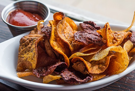 Root chips with cumin ketchup.