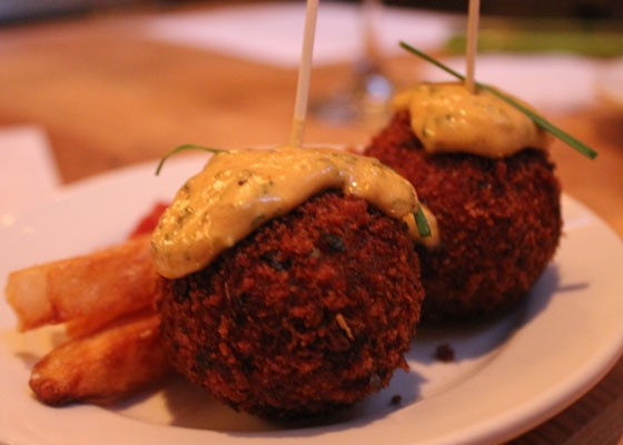 Risotto balls with a spicy remoulade. | Nancy Stiles