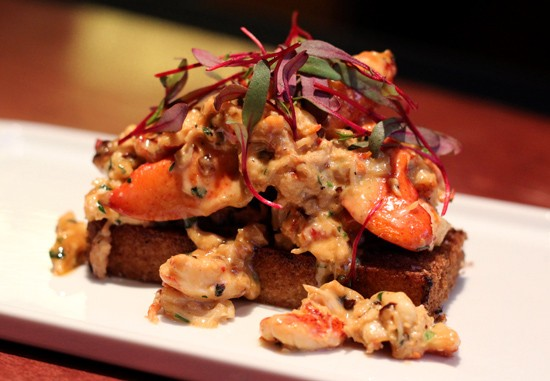 Creamed lobster with brandy and fried bread. - MABEL SUEN