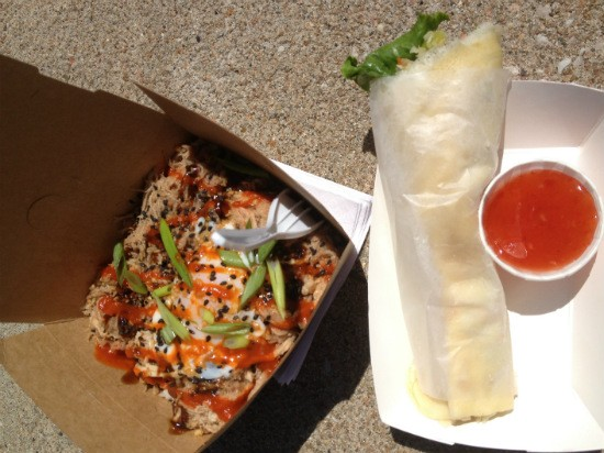 "The ""Flying Pig"" and ""Lumpia"" at Guerrilla Street Food. - EVAN C. JONES"