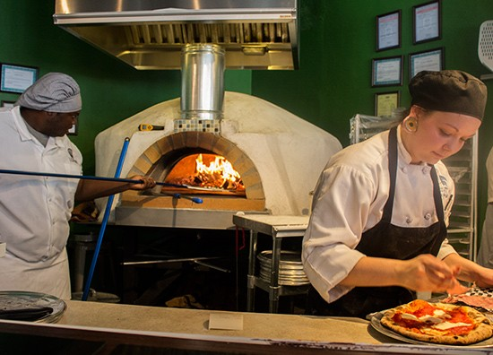 The wood-fired oven.