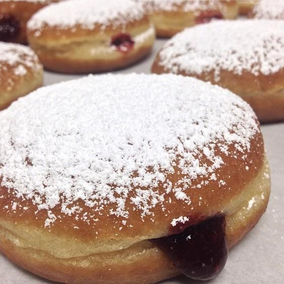 Raspberry Hanukkah Bismarcks from Vincent Van Doughnut. | Instagram/@vincentvandoughnut